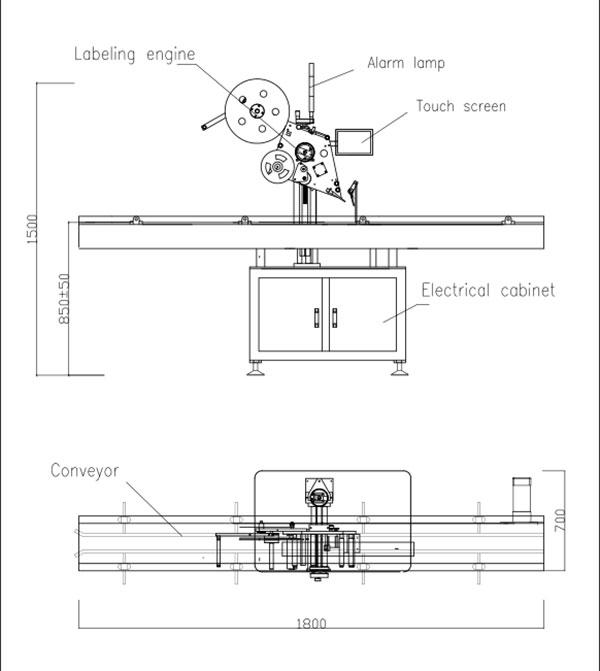 자동 플랫 탑 자체 접착 라벨링 기계